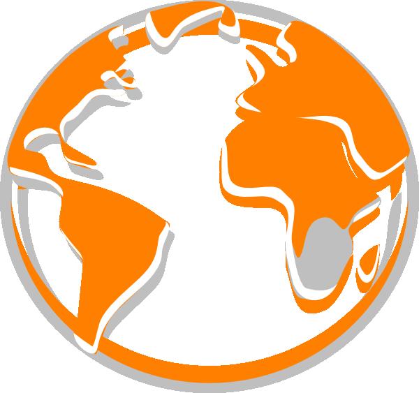 Grey clip art at. Globe clipart orange