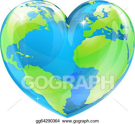 globe clipart heart