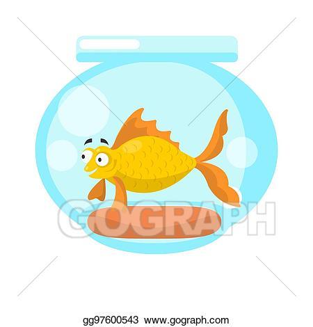 Vector art golden fish. Globe clipart inhabitant