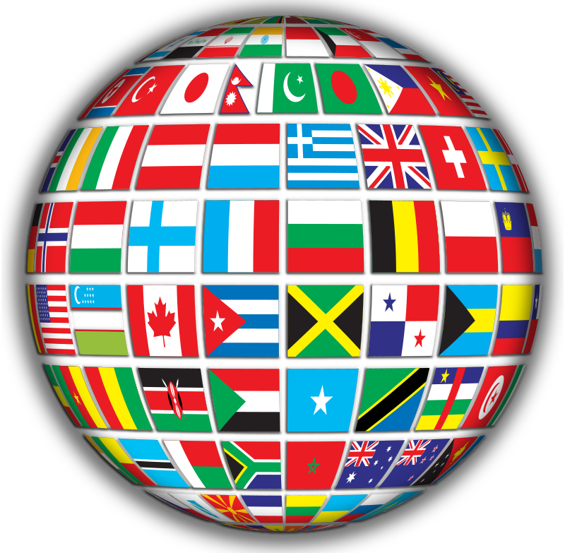 World flags globe with. Country clipart international day
