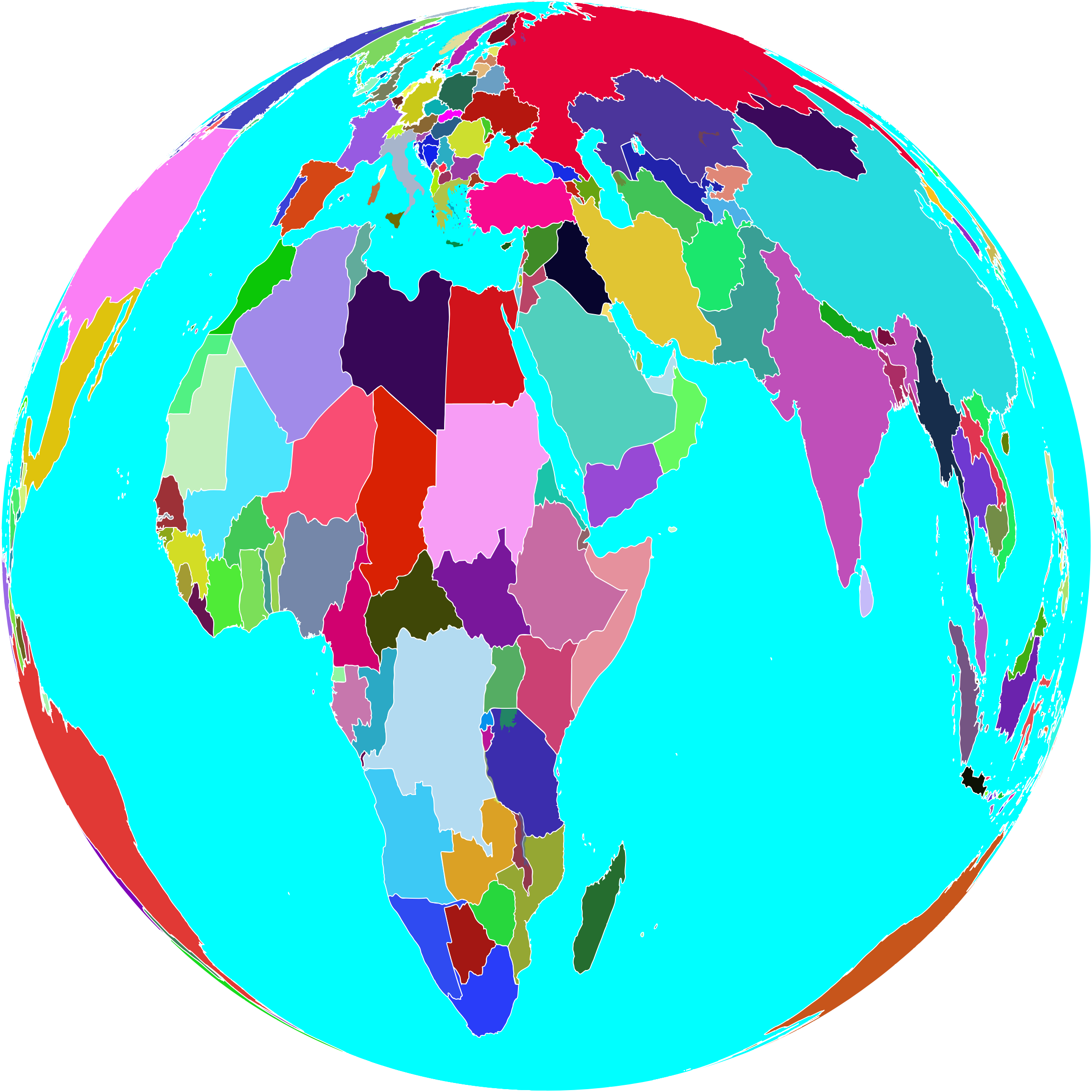 World globe. Planets clipart colorful