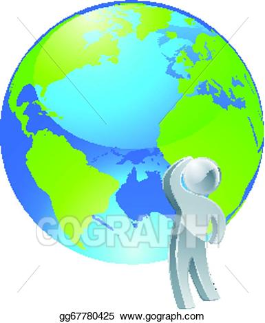Vector art looking up. Globe clipart person