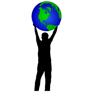 Clipart globe person. Man holding up world