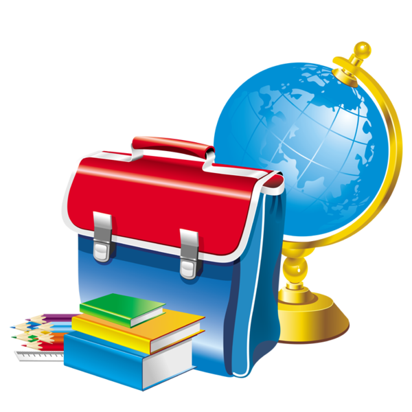 Founitures scolaires cartable terrestre. Globe clipart red
