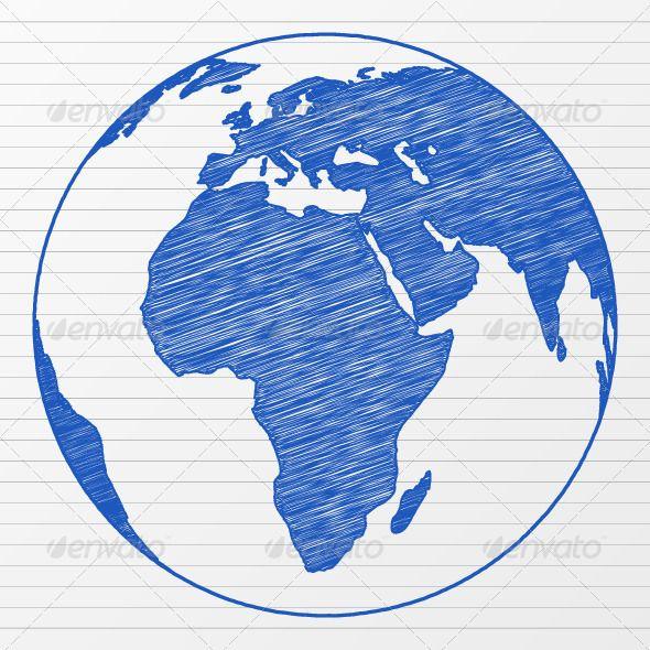 Clipart globe sketches. Drawing world wanderlust tat