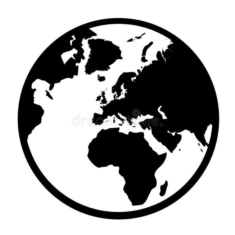 Simple art ideas drawing. Globe clipart symbol