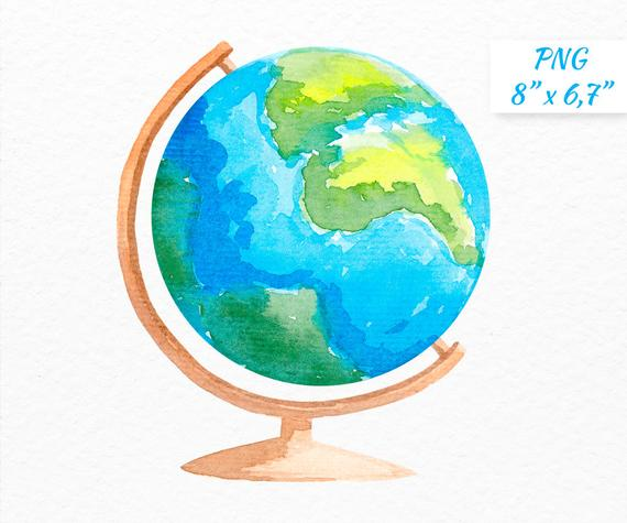 School watercolor commercial use. Clipart globe teacher