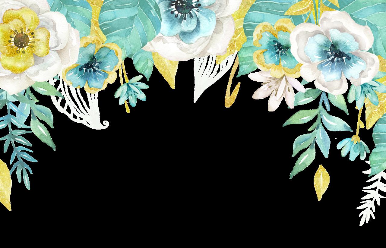 Floral clipart boho. Mint gold png pinterest