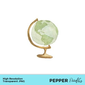 Globe clipart watercolor.