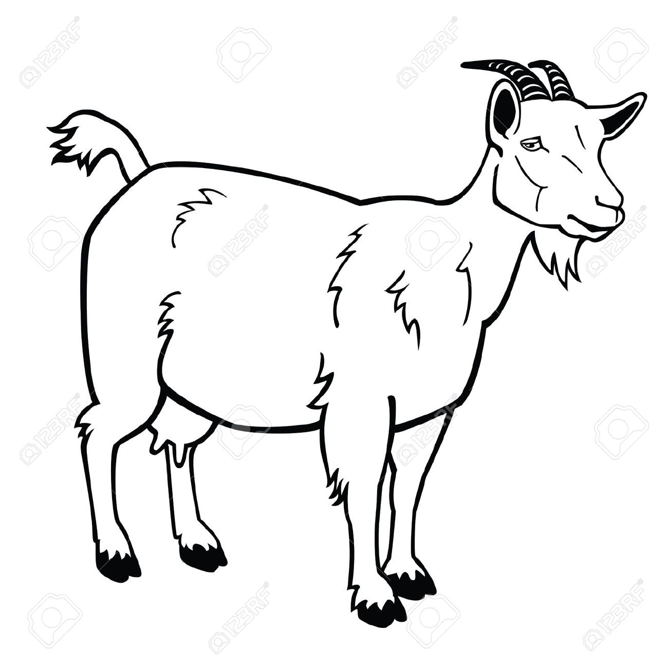 Goat clipart female goat. Black and white free