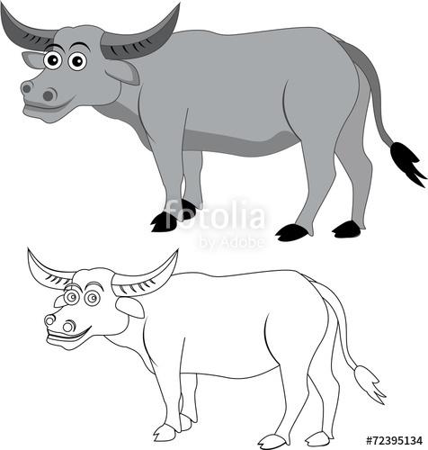 Clipart goat carabao. Illustration of cartoon buffalo