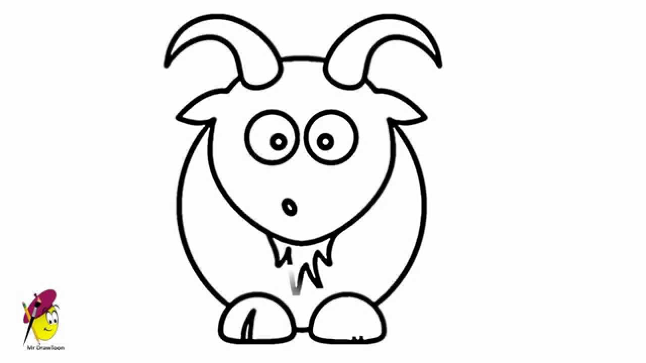 Cartoon drawing how to. Clipart goat easy draw