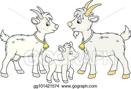 Goat clipart she goat. Vector art kid and