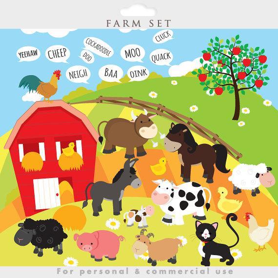 Animals clip art . Farmhouse clipart animal farm