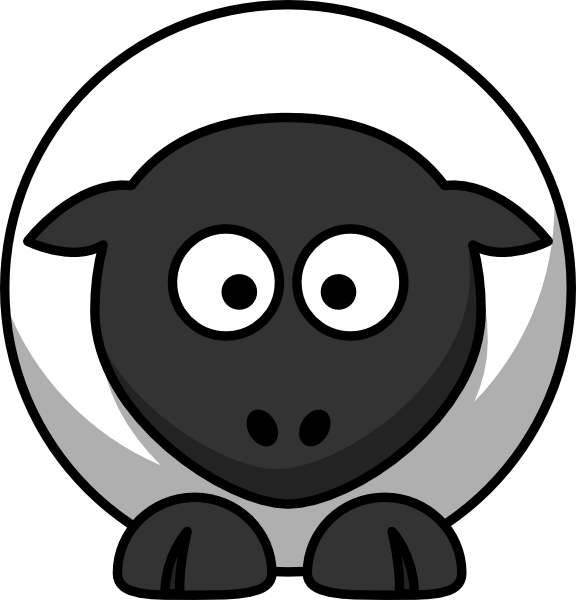 White with black face. Foot clipart sheep