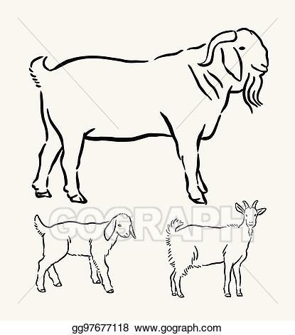 Vector art farm animal. Goat clipart mascot