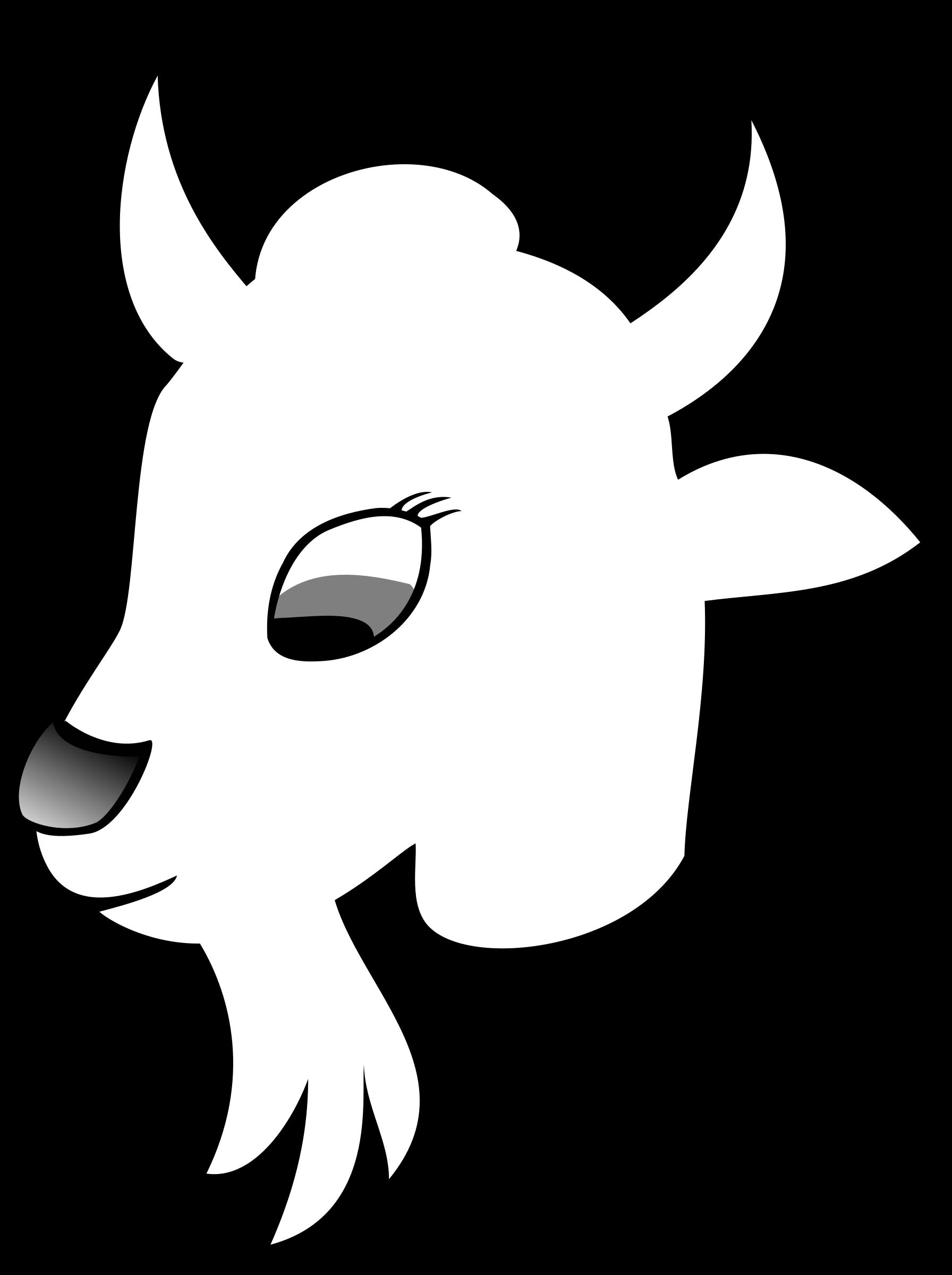 Line art big image. Goat clipart head