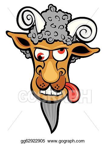 Vector art eps gg. Goat clipart mad