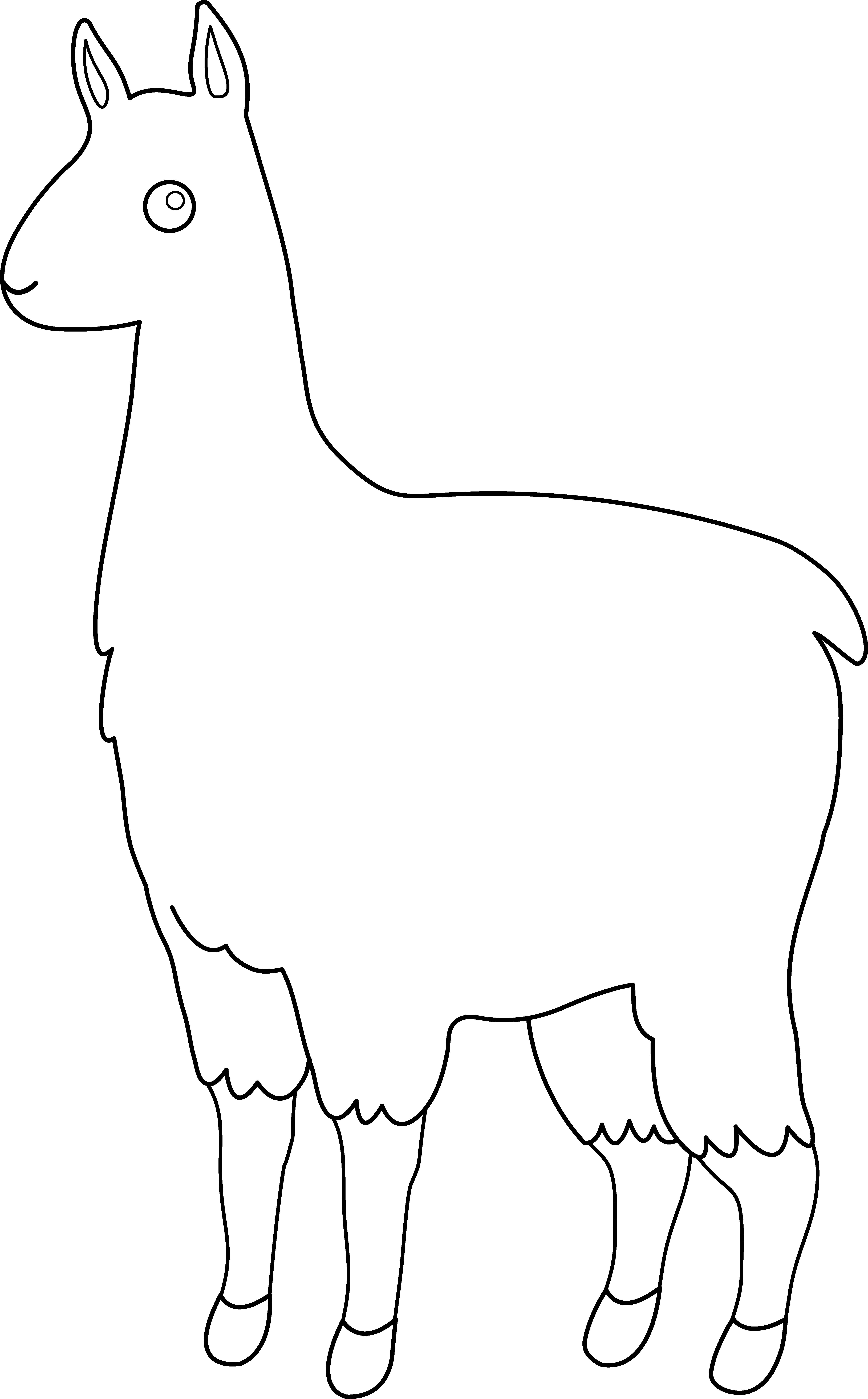 Cute llama line art. Kawaii clipart alpaca