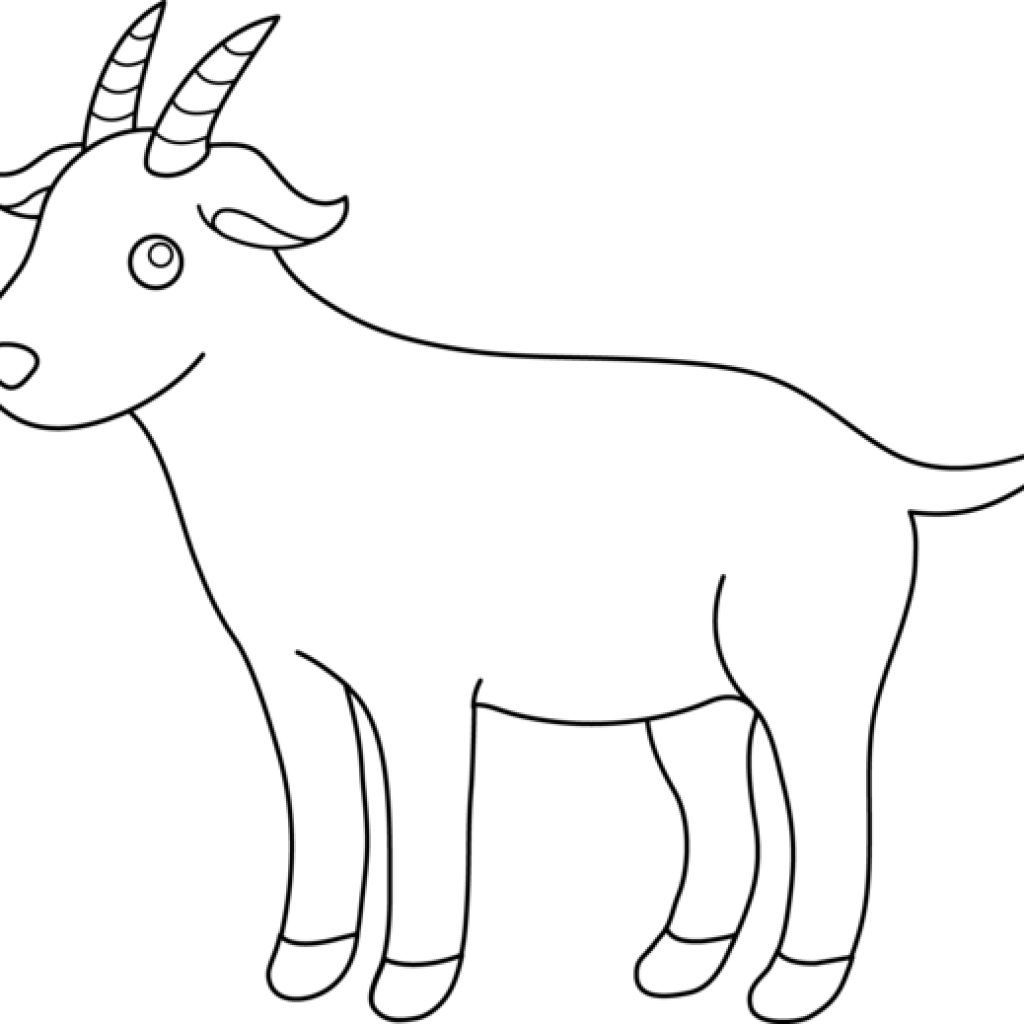 Black and white fire. Goat clipart coloring page