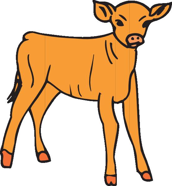 Ox clipart caw. Orange calf clip art