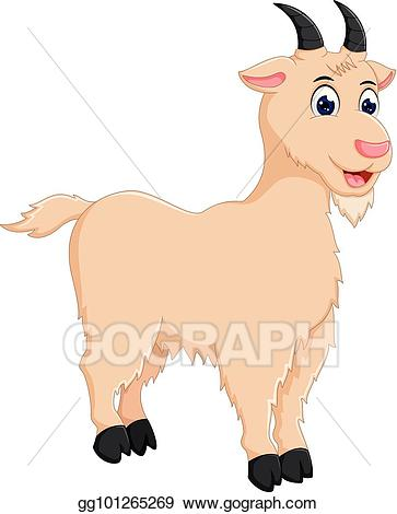 Vector illustration funny cartoon. Goat clipart standing