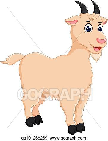 Vector illustration funny cartoon. Goat clipart standing