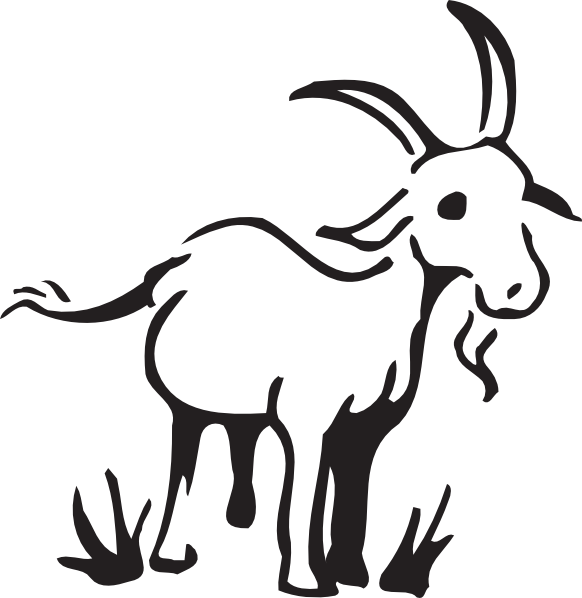 In the grass clip. Outline clipart goat