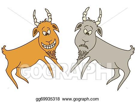 Goat clipart two goat. Stock illustrations goats cheerful