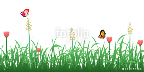 Green with flowers and. Clipart grass border design