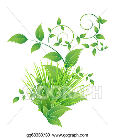 Clipart grass bunch. Vector and green leaves