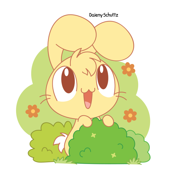 Clipart grass bunny. In a bush by