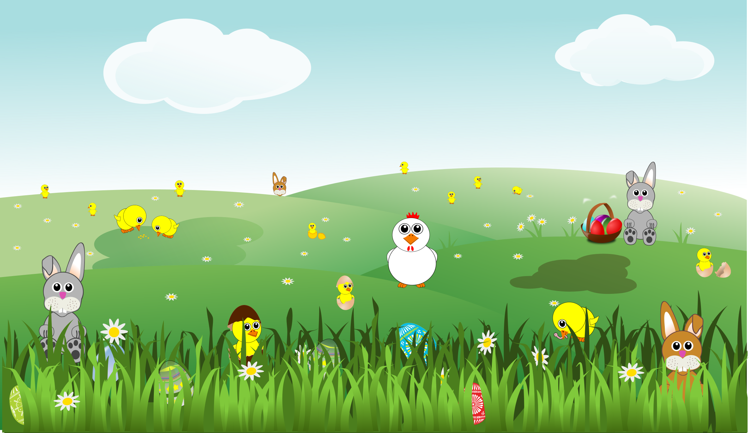 Easter landscape with bunnies. Environment clipart scenery