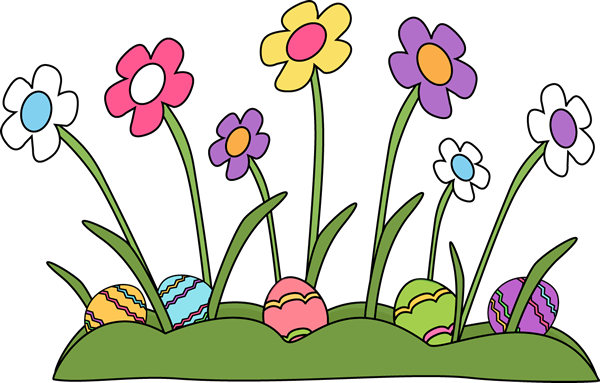 Easter eggs hidden in. Clipart grass colorful