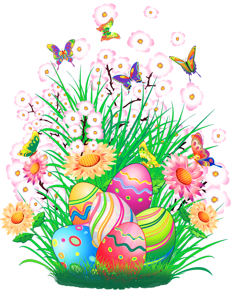 Transparent decor with eggs. Clipart grass easter egg