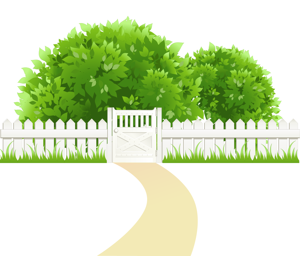 Clipart grass fence. Path with and trees