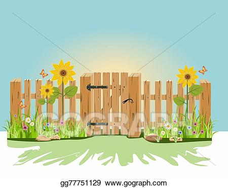 Fencing clipart wooden gate. Stock illustration a and