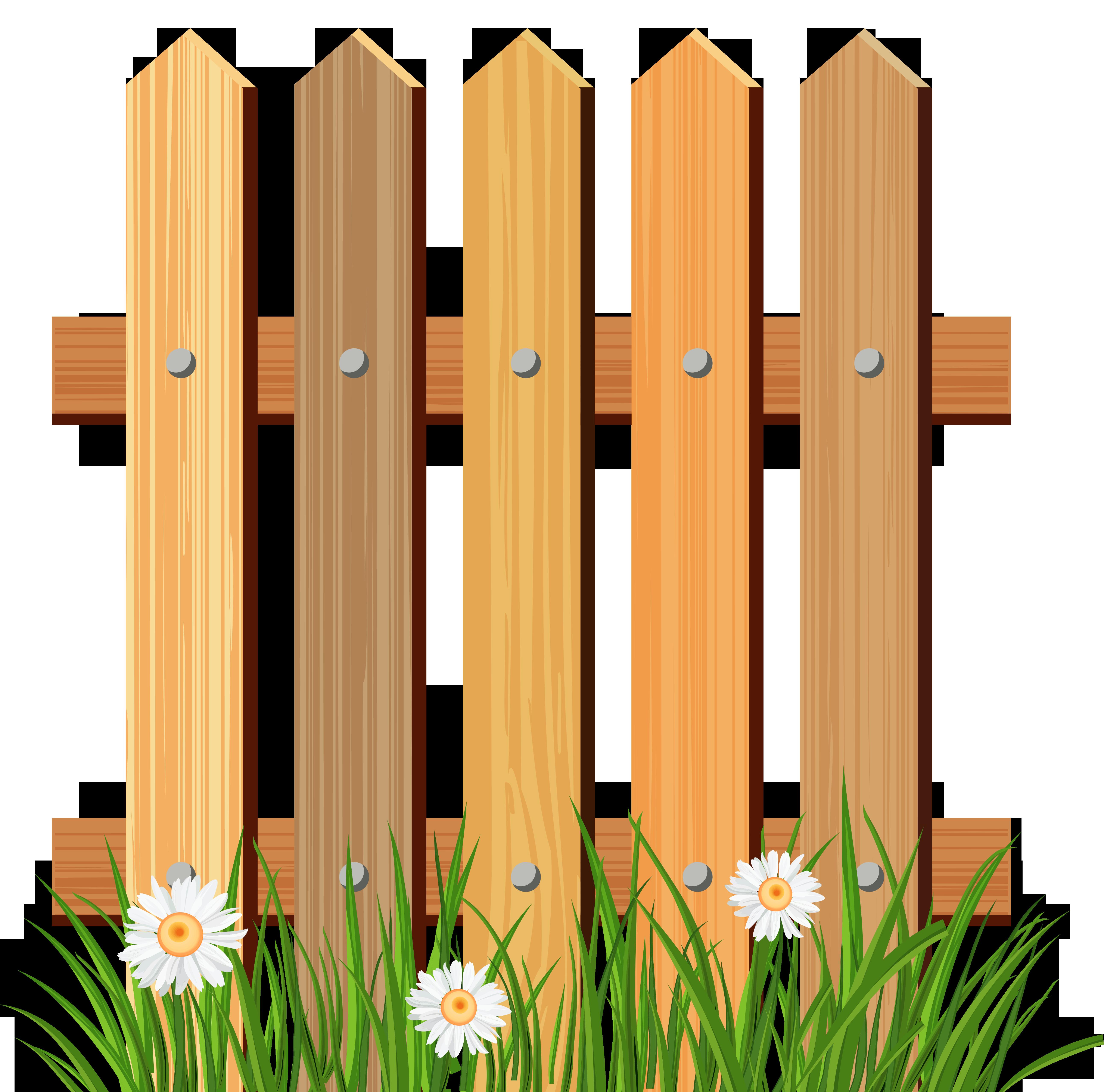 Picket fence flower garden. Clipart grass gate