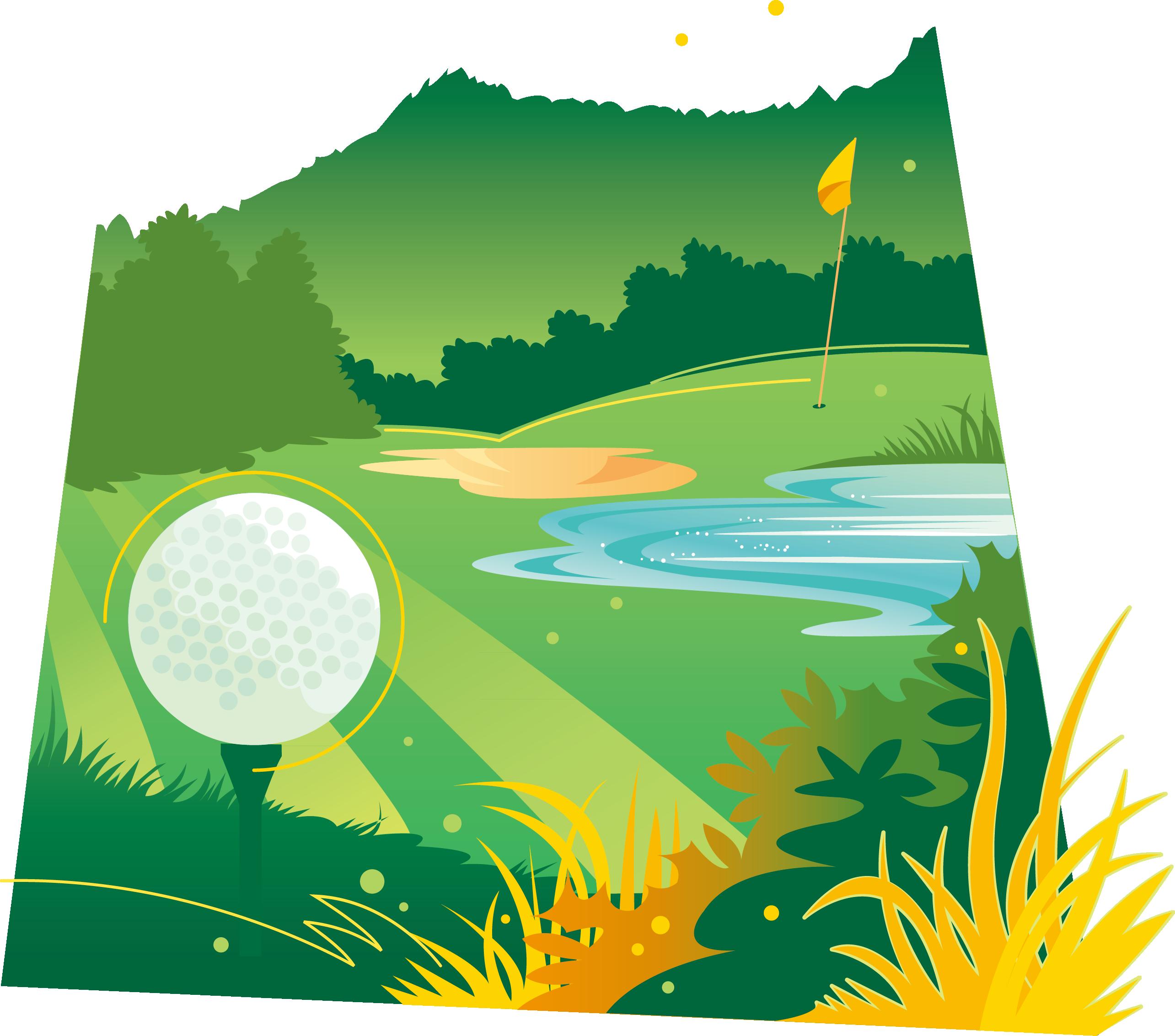 Green graphic design icon. Clipart grass golf ball
