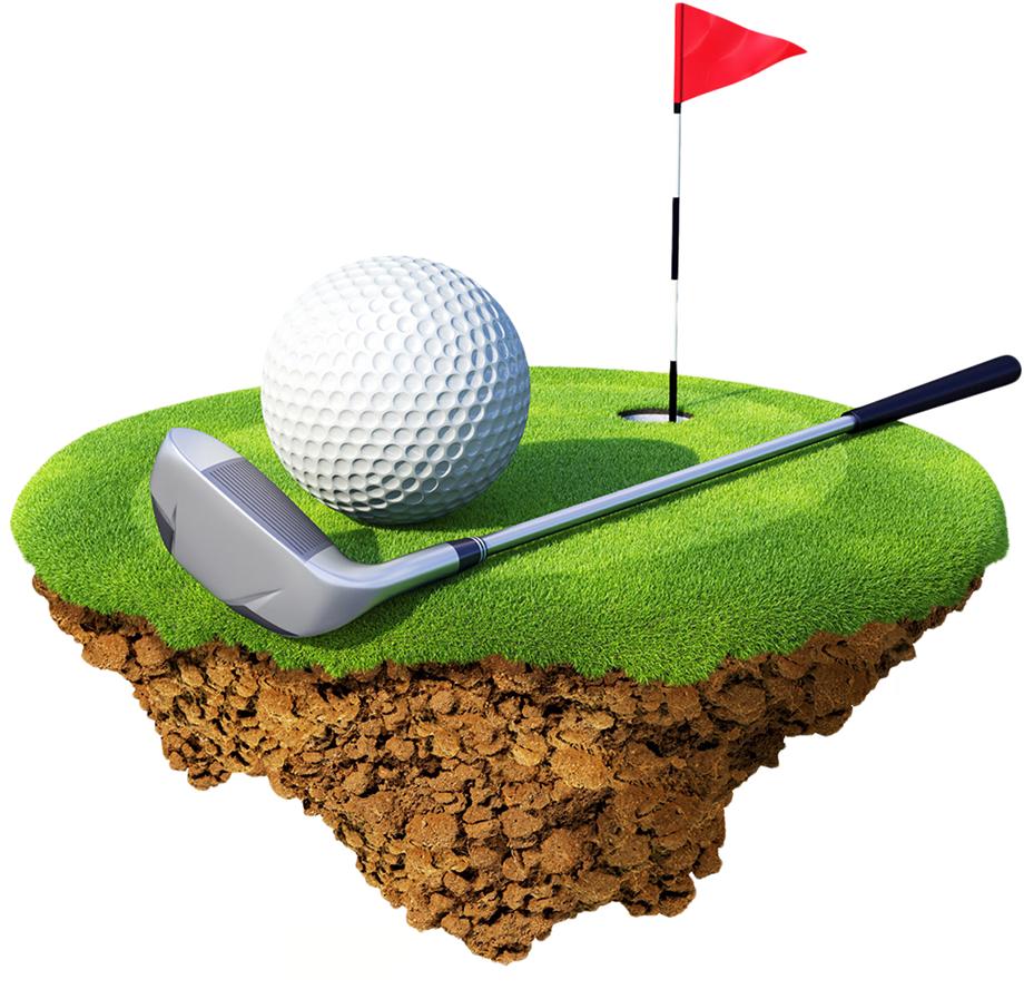 Clubs course balls miniature. Clipart grass golf ball