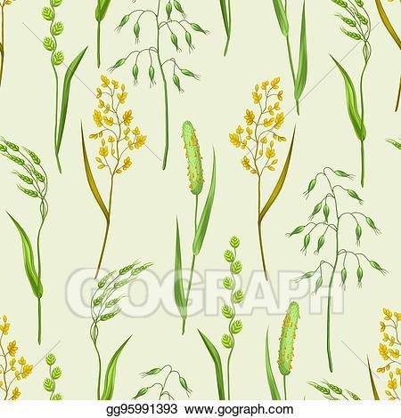 Clipart grass herbs. Vector illustration seamless pattern