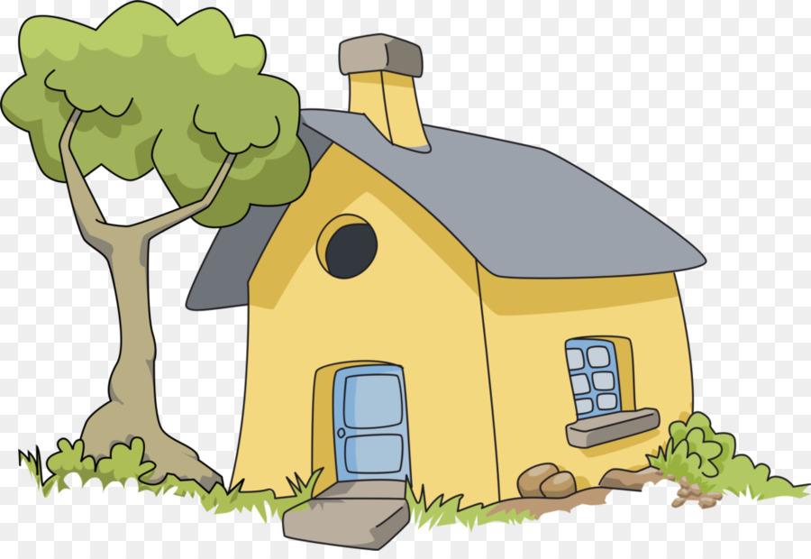 Cartoon tree illustration . Clipart grass house