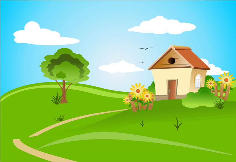 Green background nature . Clipart grass house