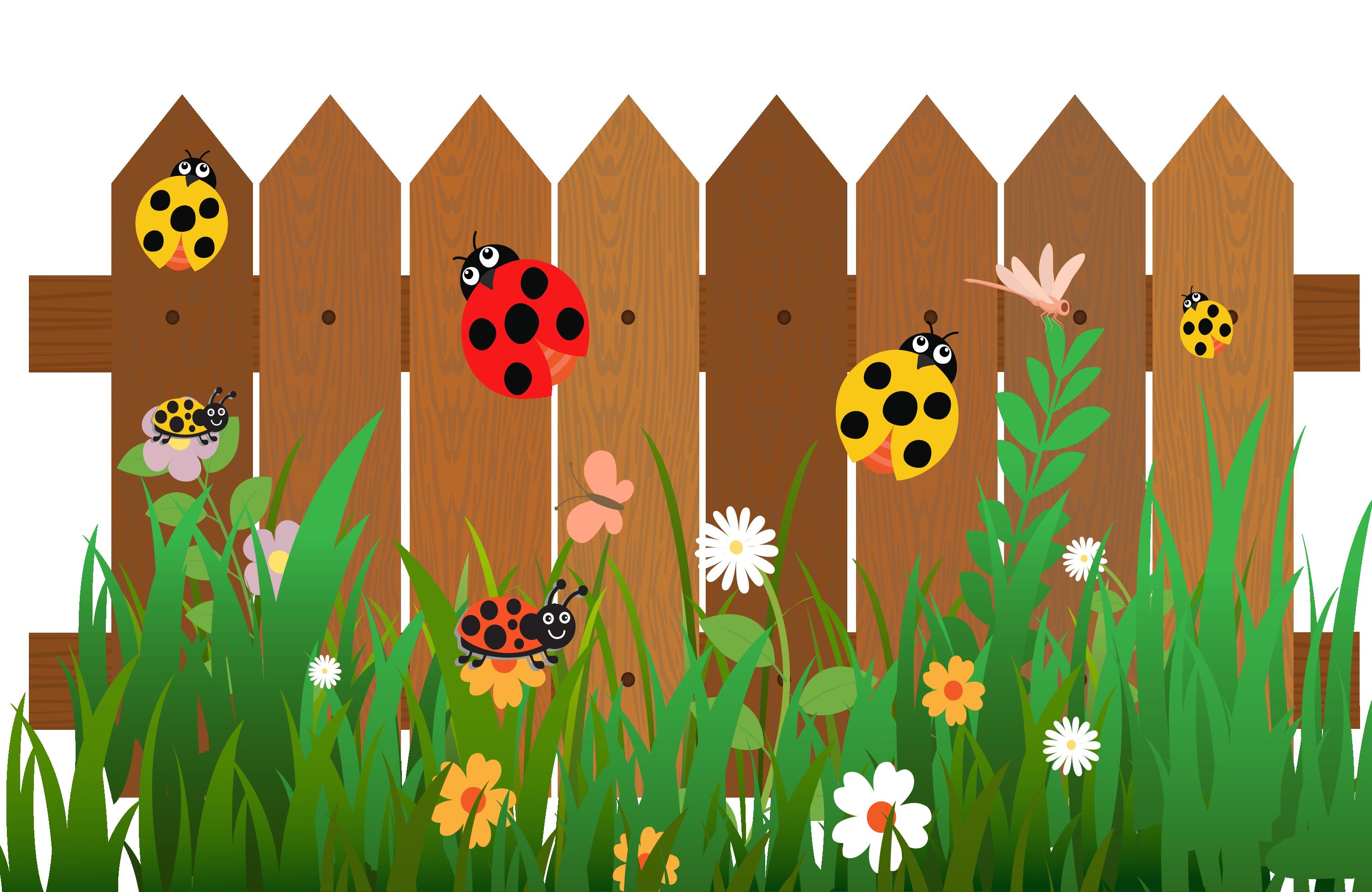 Fence cartoon ladybird the. Clipart grass ladybug