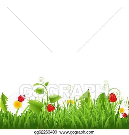 Vector art border with. Clipart grass ladybug