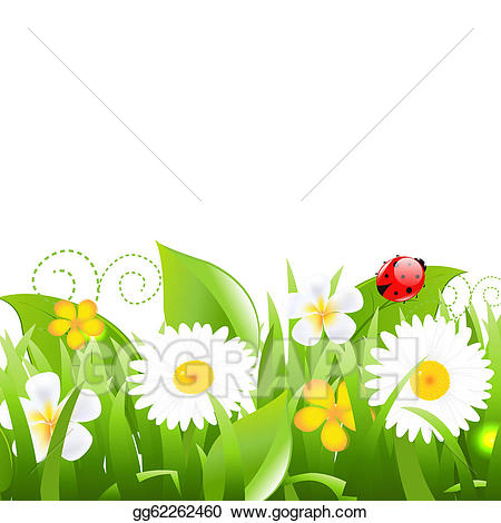 Clipart grass ladybug. Eps vector flowers with
