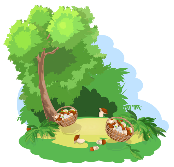 Decoration with tree and. Clipart grass mushroom