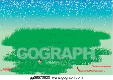 Clipart grass rain. Vector art worms and