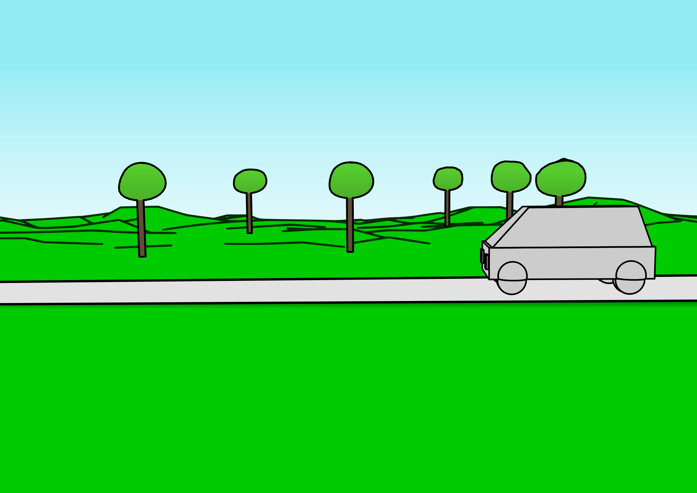 Cartoon car passing by. Clipart grass road