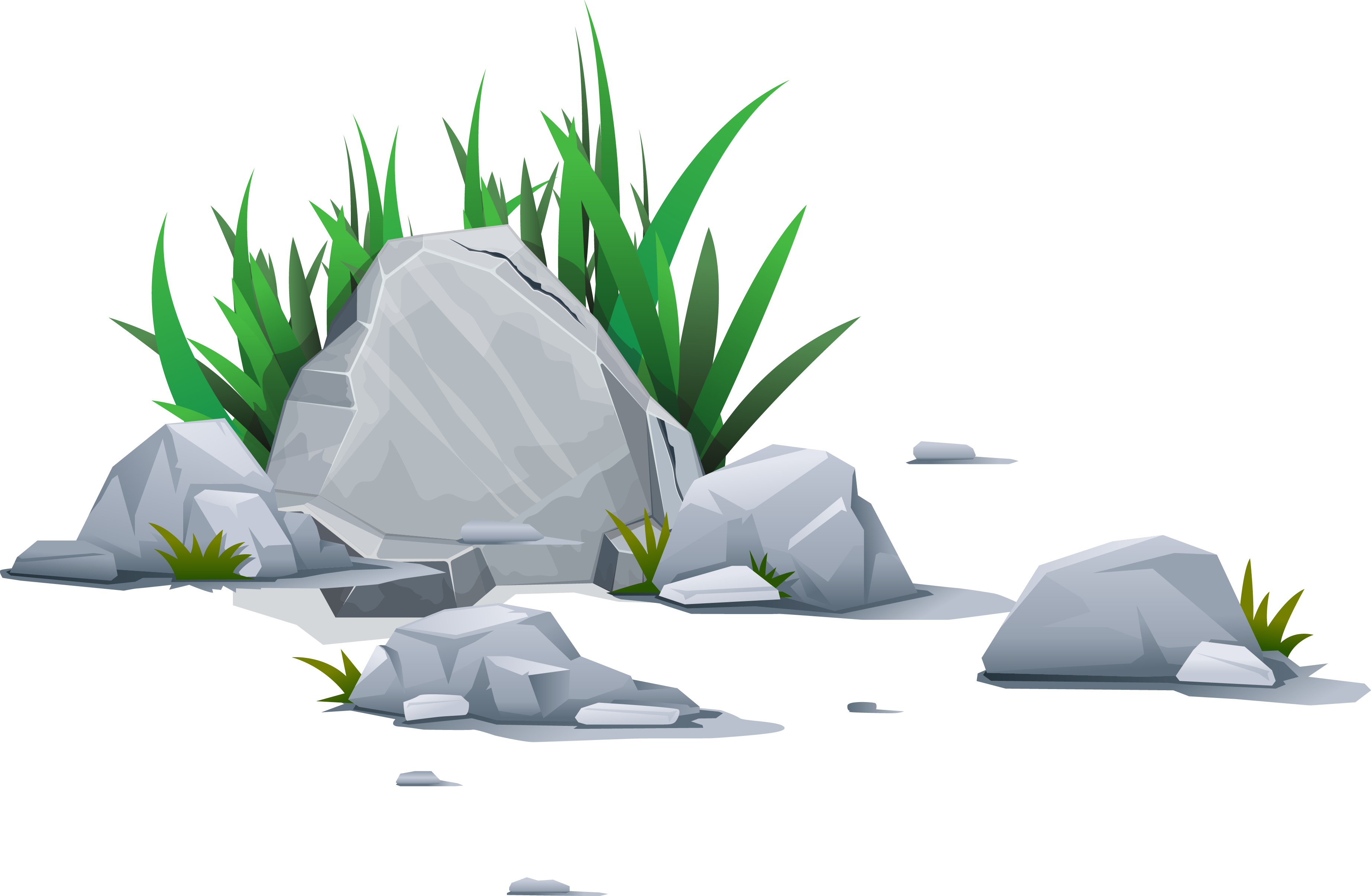 Clip art vector grass. Clipart rock stone